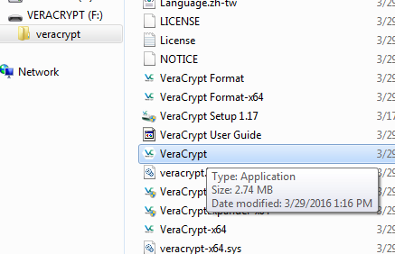 Double-Click on VeraCrypt