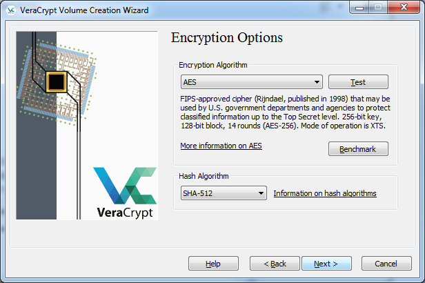 Leave the default encryption and hash options and click Next
