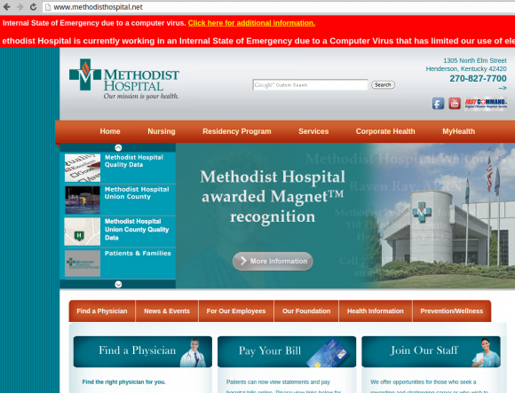 Methodist Hospital in Henderson, KY posts red banner warning of computer virus